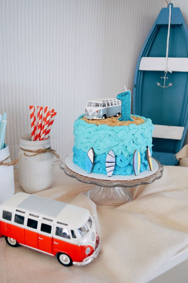 Surf's Up Birthday Party / Ocean Cake / Vintage VW Bus / First Birthday Party Ideas