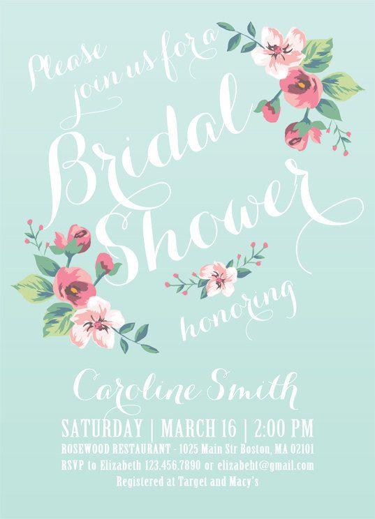 Printable Bridal Shower Invitation (ivory background) - Vintage Floral Invitation - Spring/Summer Bridal Shower