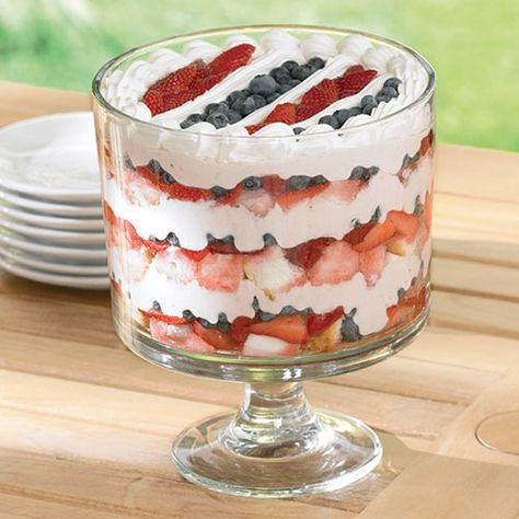 Red, White & Blueberry Trifle, Tabletop Trifle - The Pampered Chef®  Everything looks better in a Trifle Bowl. Ours has a removable pedestal and a lid which makes it perfect for refrigeration. Healthy, Delicious, Dessert, 4th of July, Labor Day, Thanksgiving, Christmas, Holiday, Dinner, Party, Picnic, Potluck, | http://www.pamperedchef.com/pws/kariweddle,