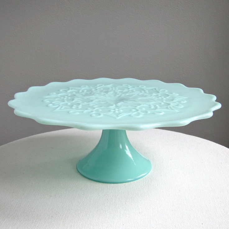 Green Pastel Milk Glass Pedestal Cake Stand -- Spanish Lace by Fenton. $345.00 & 142 best cake stands/plates images on Pinterest | Cake plates ...