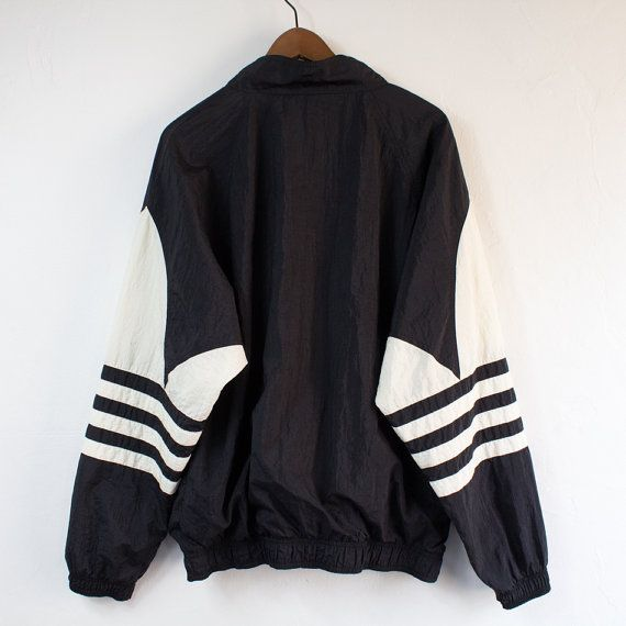 Vintage 90's Adidas Black Pullover Windbreaker - Large on Etsy, $30.00 ∘°• Pinterest: @shreyahal •°∘