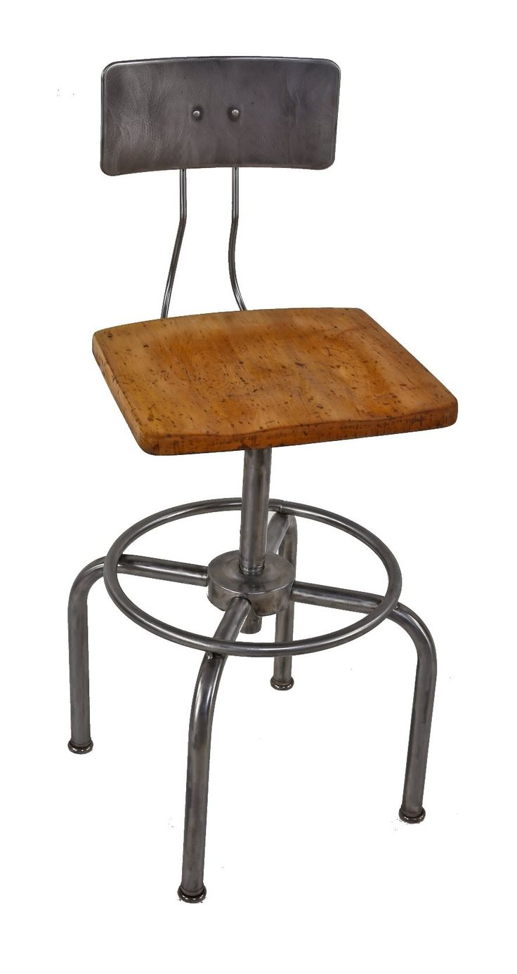 Wood lounge chairs qty 4 striped fabric with adjustable heights - American Vintage Industrial Adjustable Height Bent Tubular Steel Factory Stool With Oversized Maple Wood Saddle Seat