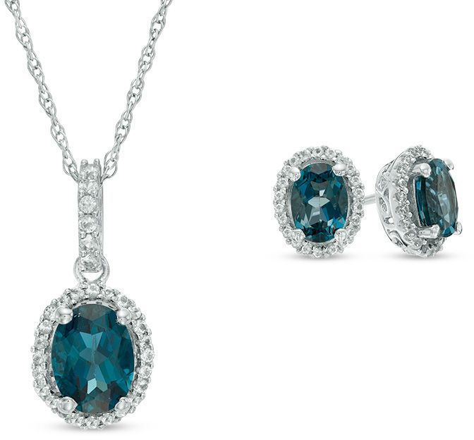 Zales Oval London Blue and White Topaz Frame Pendant and Earrings Set in Sterling Silver