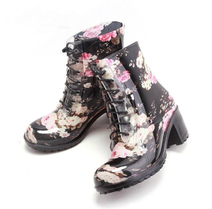 Pas cher Nouveautés Femmes Mode PVC Floral Pluie Bottes à lacets Compensées  Plates Formes Cheville Rainboots