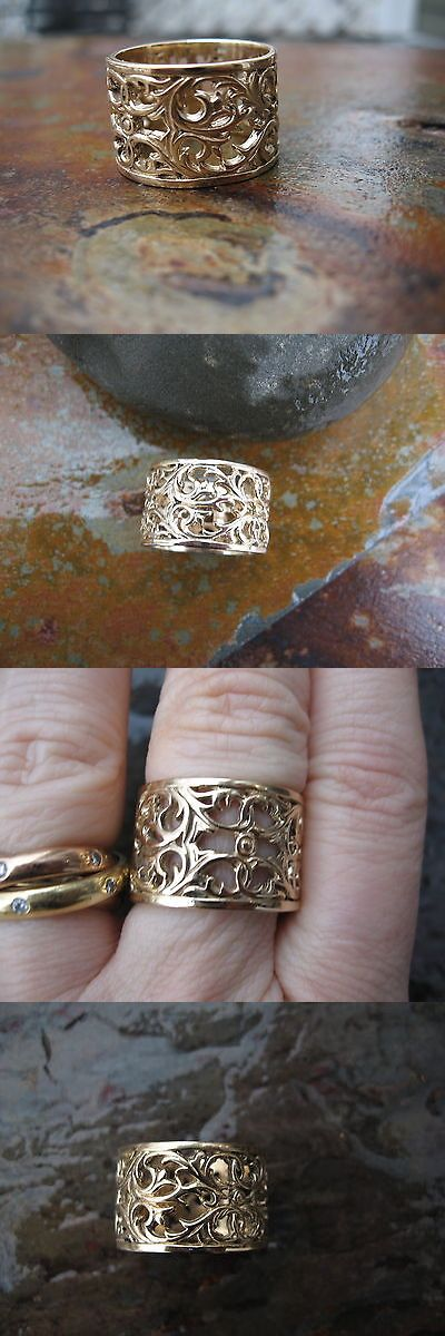 Precious Metal without Stones 164341: 14Kt Yellow Gold Filigree Floral Design Wide Cigar Band Ring.....New Size 5 BUY IT NOW ONLY: $999.99