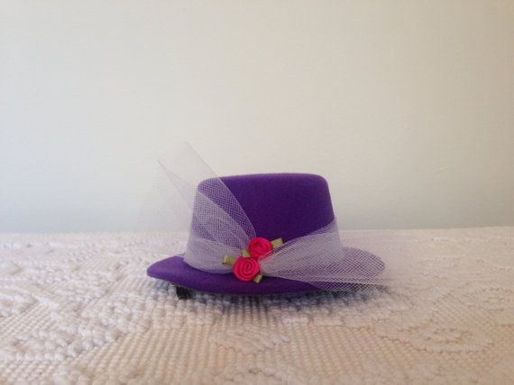 Royal Tea Hats - Purple tea party hat, derby, bridal shower, little girls tea parties - the handmade, mini, fascinator top hat clips to hair  https://www.etsy.com/listing/227341148/royal-tea-hats-purple-tea-party-hat