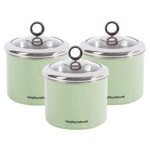 Morphy Richards 3pc Tea Coffee Sugar Small Sage Green Kitchen Storage Canisters