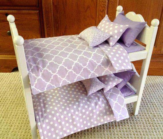 American Girl Doll:  Furniture, bunk beds with lavender quatrefoil bedding