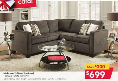 Shared from flipp midtown 2 piece sectional in the for Sectional sofa hhgregg