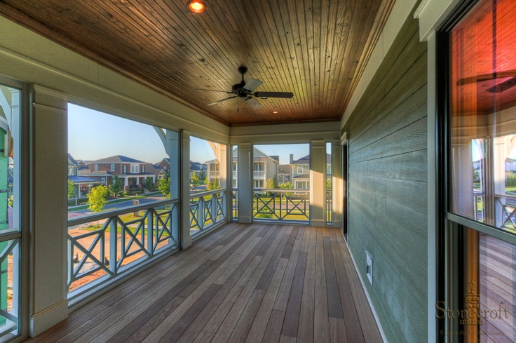 Awesome Screened Porch With Wood Decking And Stained