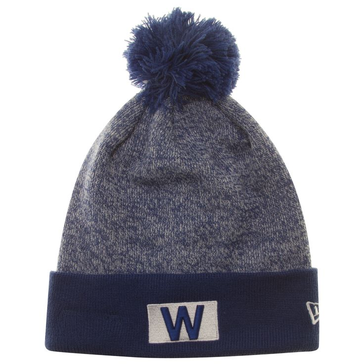 Chicago Cubs Heather Blue W Flag Knit Pom Hat by New Era #Chicago #Cubs #ChicagoCubs