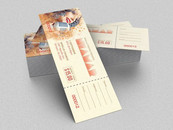 Concert Ticket Template by Godserv Marketplace on Creative Market - create tickets template