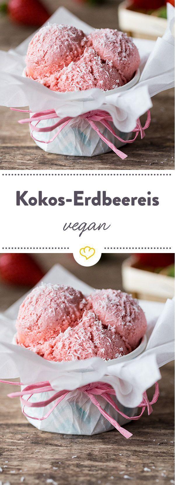 Cremiges Erdbeereis ohne Ei und Sahne – kann das gehen? Es kann. Dieses Eis ist …  – Erdbeeren – so schmeckt der Sommer!