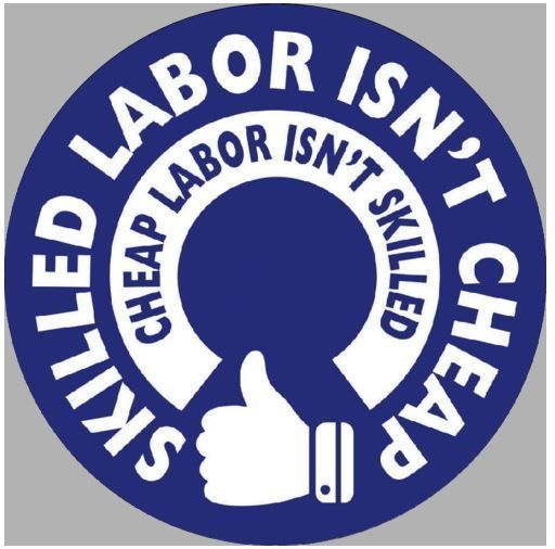 Skilled Labor Isn't Cheap Hard Hat Sticker / Funny Helmet Decal Label Toolbox #HardHatSticker