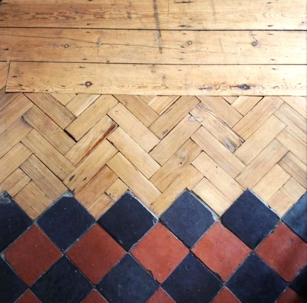 combination of tiles & wood