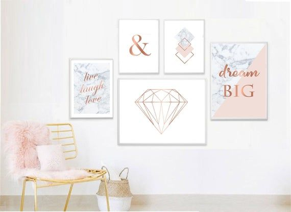 Set Of 5 Prints In 3 Sizes Pink Marble Gray Rose Gold Etsy Wall Printables Cute Bedroom Decor Gold Wall Art