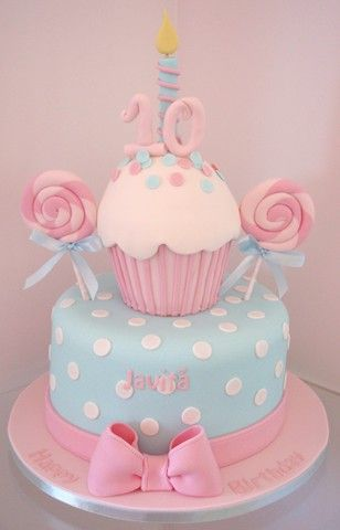 Baby Pink and Blue Cupcake Cake