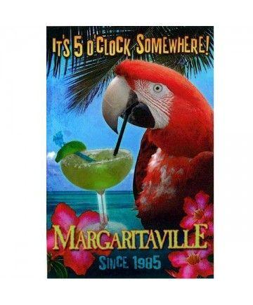5:00 Somewhere Parrot Tin Sign - HOME DECOR