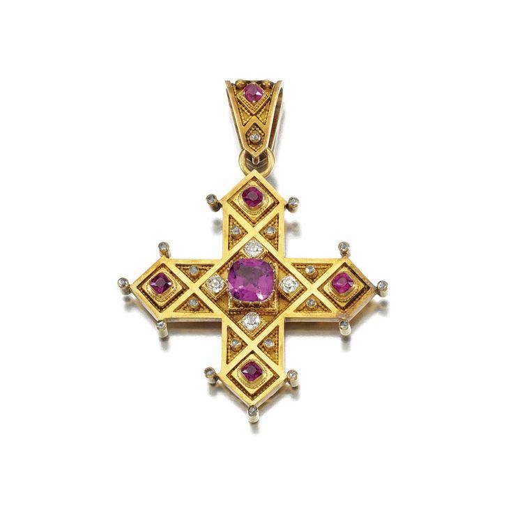 141 best cross jewelry images on pinterest cross jewelry cross pink sapphire and diamond broochpendant sobolewski 1860s designed as a greek cross mozeypictures Choice Image