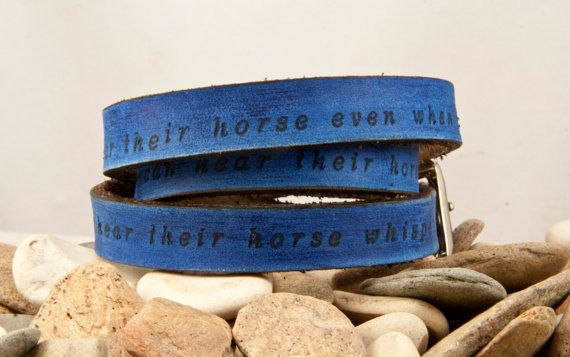 A good rider can hear their horse talk, a bad rider can't hear their horse even when he screams, but a great rider can hear their horse whisper.  3x uni- ultral long Leather wrap bracelet, 5/8 inch wide and is a rich blue color.