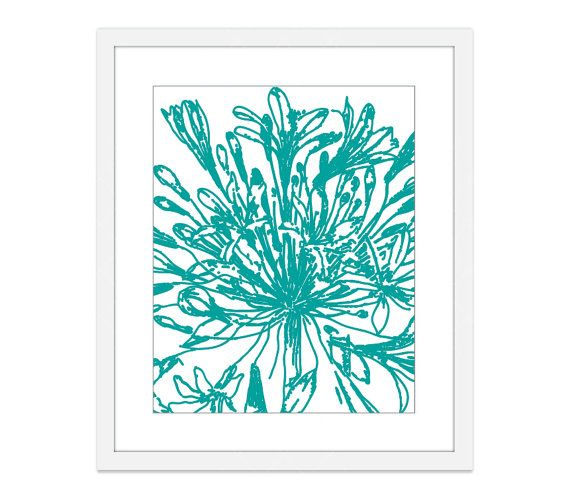 Botanical Flower Digital Print Vintage Inspired Teal Aqua Blue Wall Art Spring Summer