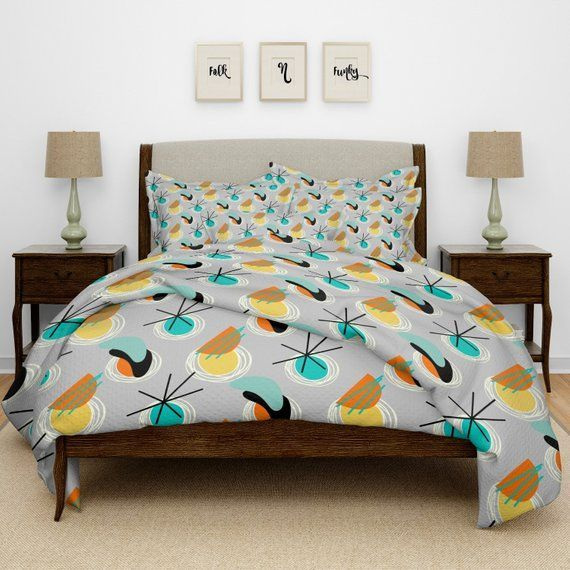 Atomic Comforter Mid Century Modern Bedding Twin Full Queen King Bedding Duvet Cover Optional Curtains Pi Modern Bed Bed Linen Design Bed Linens Luxury