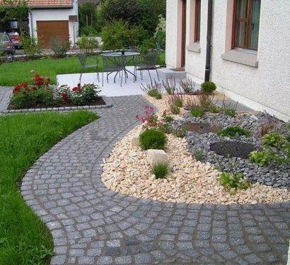 vorgartengestaltung mit kies 15 vorgarten ideen kies landschaftsbau vorgartengestaltung und. Black Bedroom Furniture Sets. Home Design Ideas