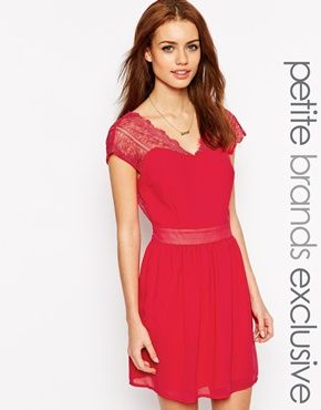 New Look Petite Lace Insert Dress
