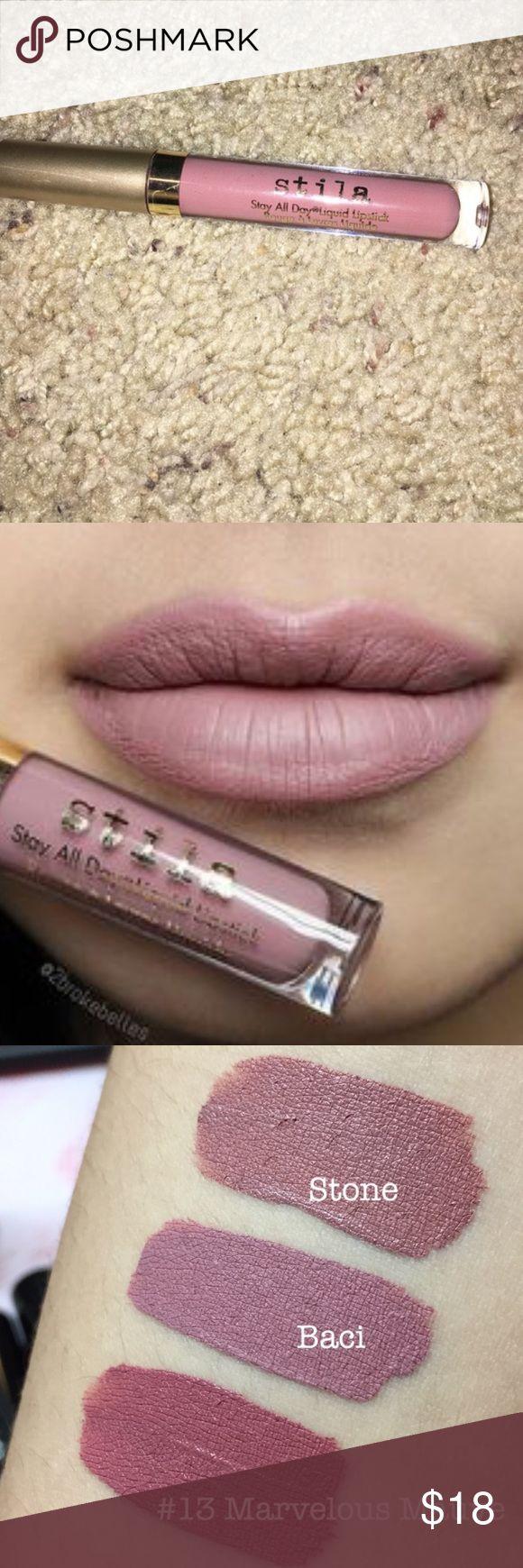 Stila baci lip gloss No box. Lightly swatched. Just not a fan of Matt lips Stila Makeup Lip Balm & Gloss