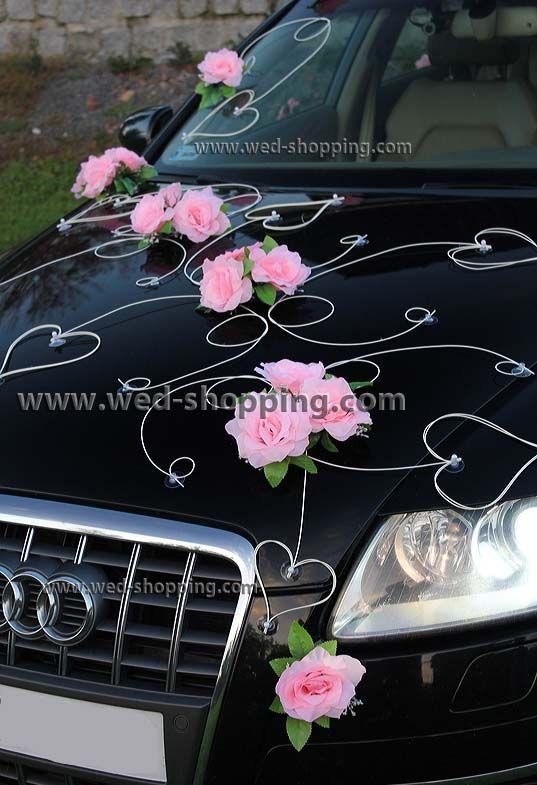 Schmuck für Hochzeitsauto - Rosen und Herzen - Rattan-Schmucke mit Herzmotiv