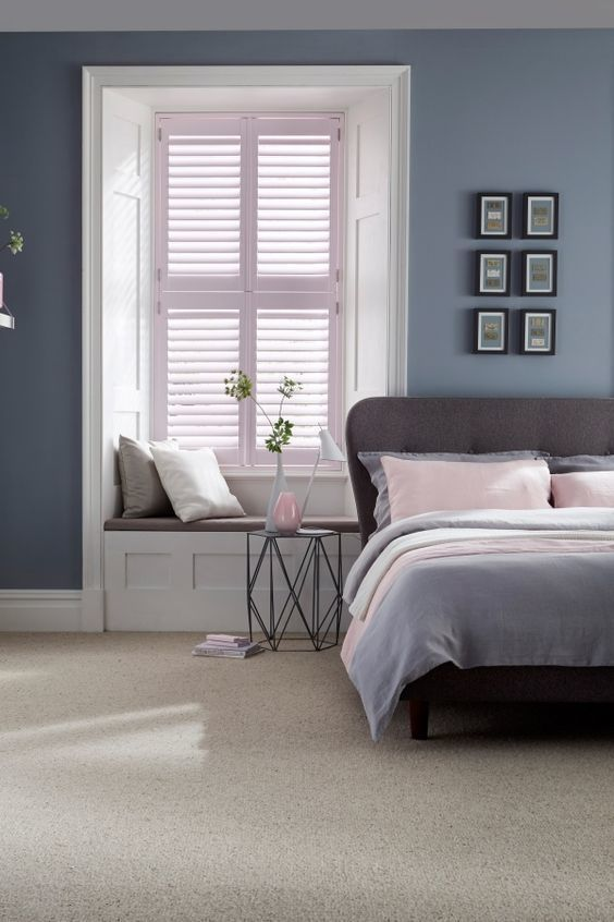 Dusty greys and blues with added hints of pale pink make the perfect calming bedroom interior. Mix different textures and modern furniture will complete the look. Our House Beautiful Shutters range is a perfect addition to the room.