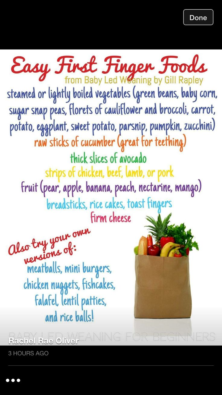 Baby led weaning first foods chart