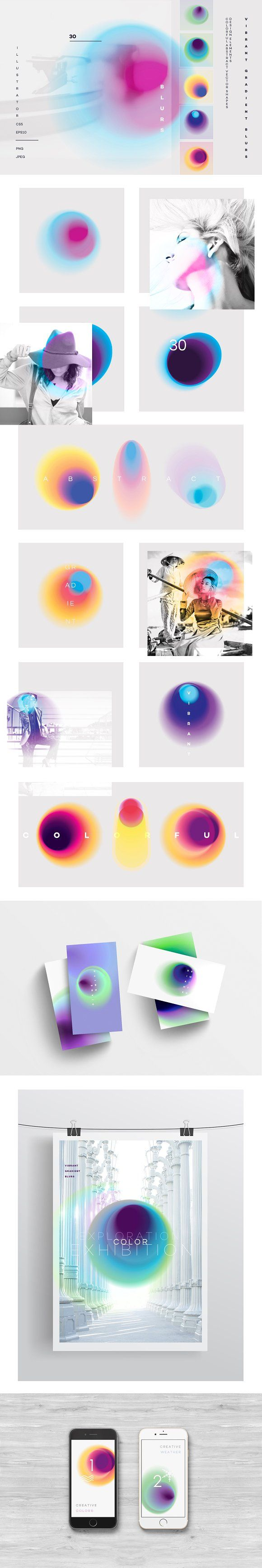 Vibrant gradient blurs by Polar Vectors on @creativemarket