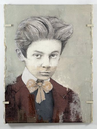 Destiny, Louis Boudreault  Using mixed media, Louis has created these beautiful pieces depicting young greats such as as Picasso and Van Gogh.