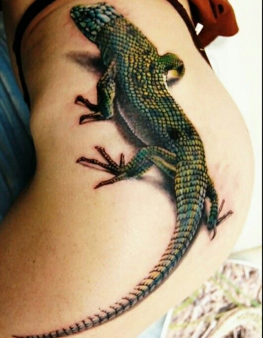 #iguana #trompeloeil #tattoo #art