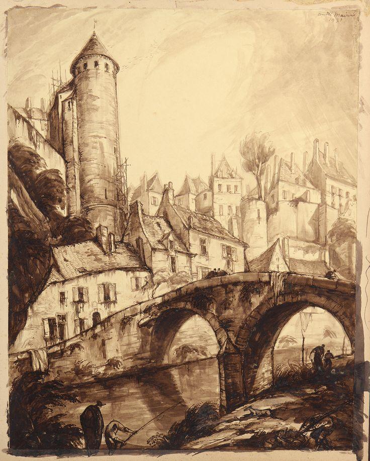 André Maire (1898-1984) Pecheurs sous le pont Pinard à Semur en Auxois, 1939 Vente le 12 avril 2015 à Semur en Auxois. #Semur #Auxois #Maire #Encheres
