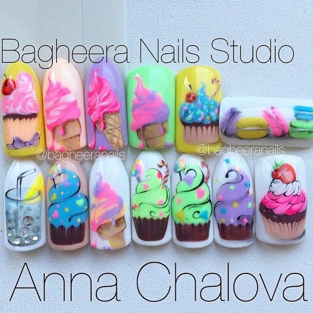 Cute ice cream and cupcake nail designs