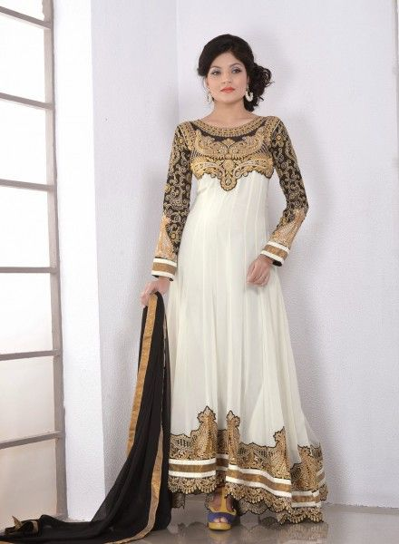 Off White abaya style anarkali churidar kameez in faux georgette C15093