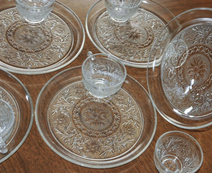 Set of 5 Anchor Hocking Luncheon Plates and Cups Double Sandwich Depression Glass Clear by RebornToAdorn & 210 best VINTAGE SNACK PLATES images on Pinterest | Dish Plate and ...