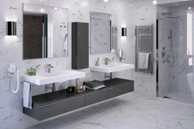 Meubles de salle de bain cedam gamme extenso sur mesure marbre meuble gris basalte for Cedam salle de bain