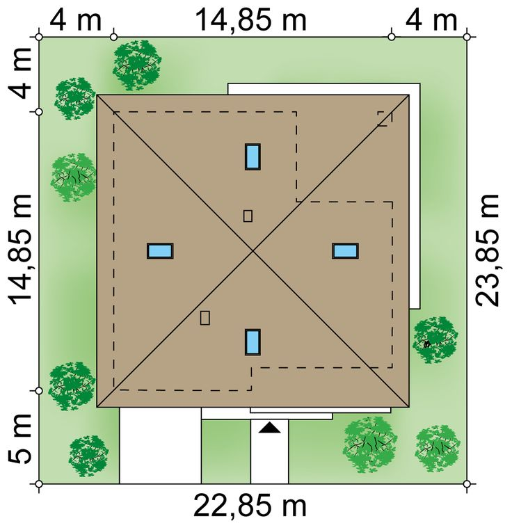 Участок 22.85 × 23.85 m domu Antares 2T