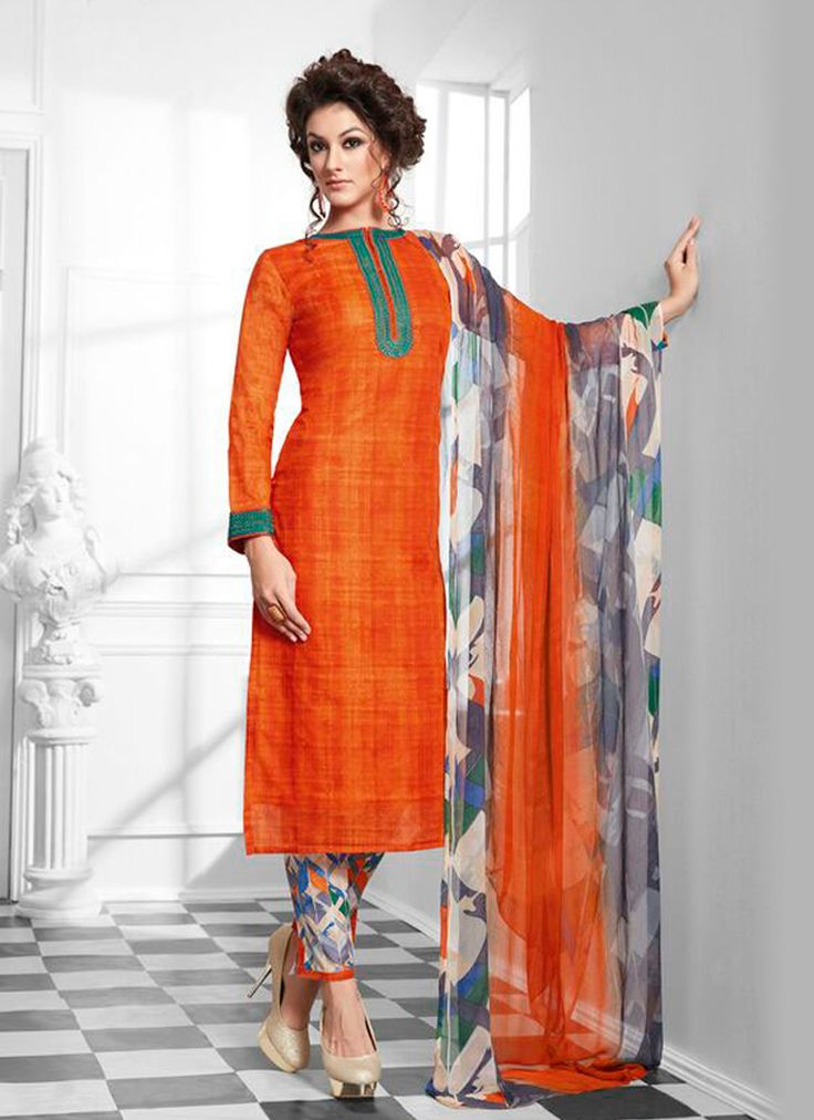 Featuring striking orange cotton silk designer suit with awe inspiring print work.It is paired with matching pants material and chiffon duppata.This outfit can be stitched upto size 44. For stitching enquiries, please email at customercare@hunardesigns.com   |…