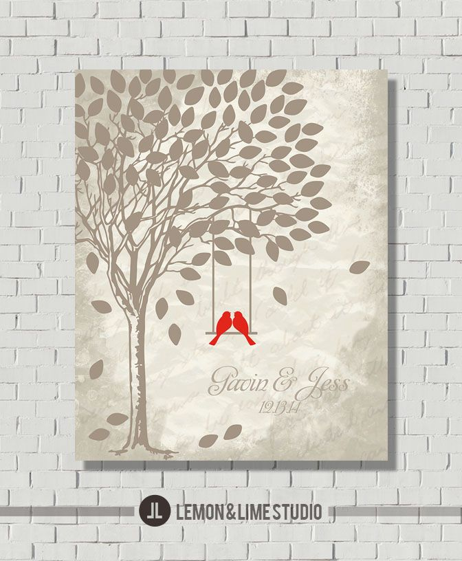 Vintage Wedding, Gray Wedding Color, Wedding Tree, Love Birds, Wedding Poster, Modern Guest Book, Guest Book Alternative, Wedding Decor from Lemon AND Lime Studio.