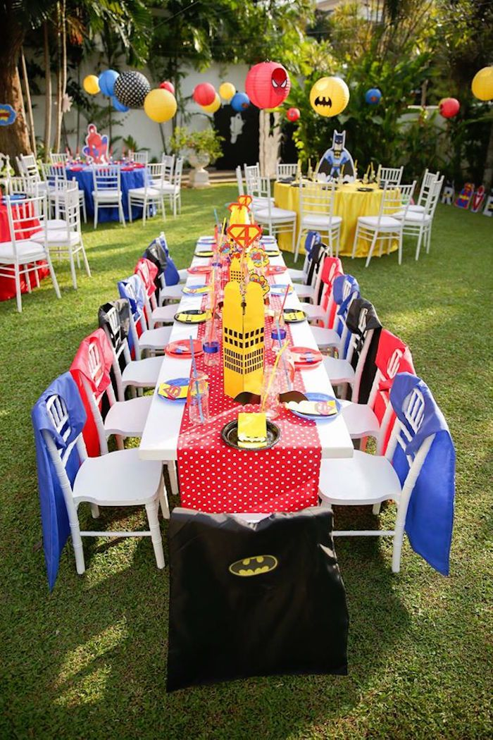 Superhero guest table from a Calling All Superheroes Birthday Party on Kara's Party Ideas | KarasPartyIdeas.com (32)