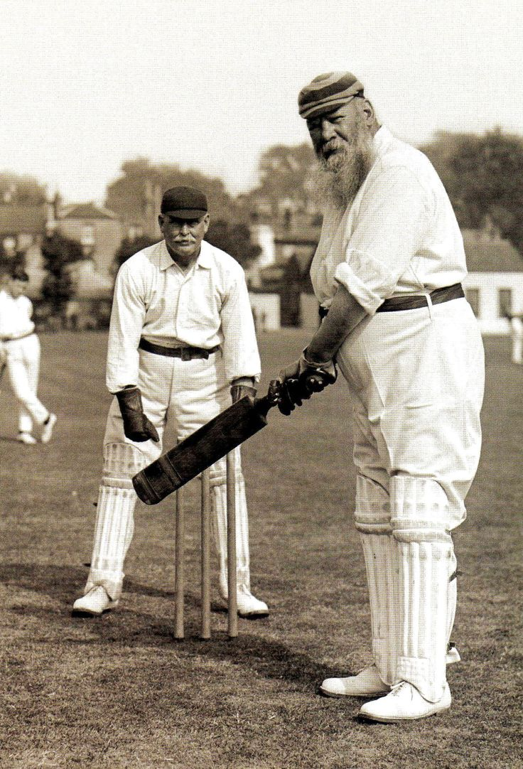 The cricketer W G Grace. He played in the first Test match in #England - against #Australia in 1880 at the Oval - and scored the first Test century by an English batsman, He died in 1915 - Britain - 1905