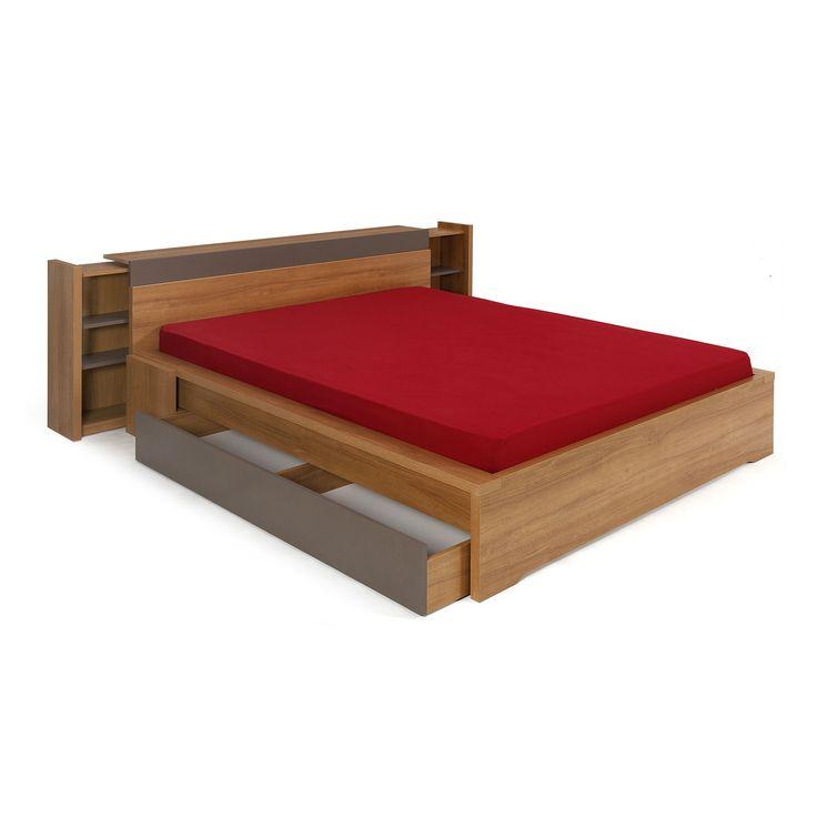 lit 140x200cm avec t te de lit et tiroir coloris teck brooklyn lits 2 places les lits. Black Bedroom Furniture Sets. Home Design Ideas