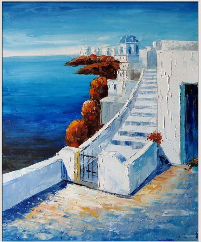 Living Room Decorative Art Mediterranean Oil Painting Landscapes Wall Painting Start the Journey Canvas Art Thick Textured