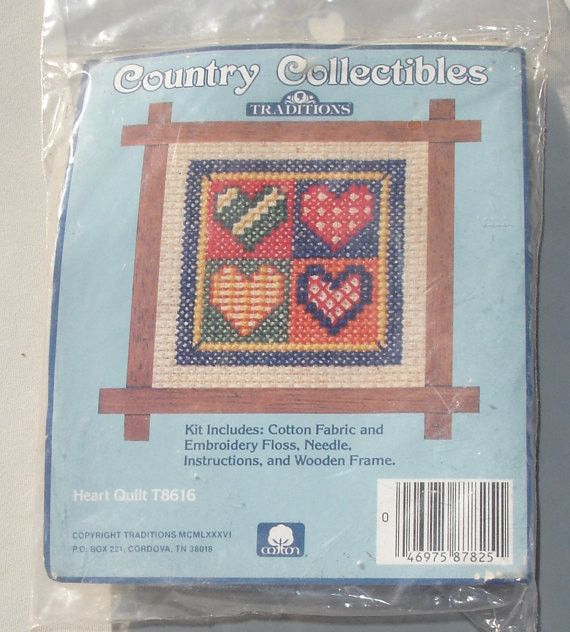 Small Vintage Cross Stitch Kit - Heart Quilt with Wooden Frame