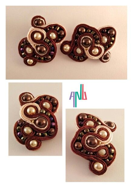 Handmade ANU Jewelry,  Soutache Earrings, Beads, beige and brown