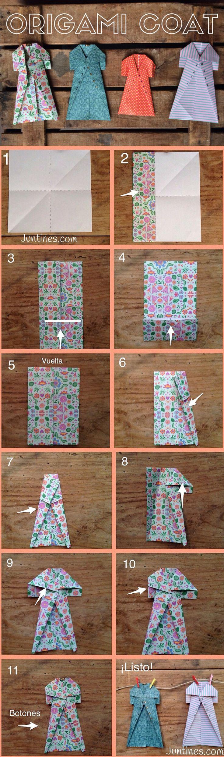Origami coat - Abrigo de Origami - Origami easy for kids - Origami fácil para…